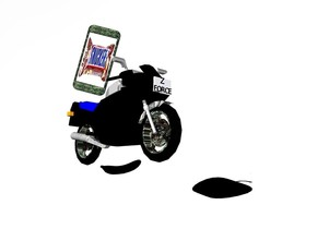 "black motorcycle leans to the northwest. it is .5 feet above the ground. a giant [metal] cell phone is on the motorcycle. it leans to the northwest. it faces southwest.the display screen of the cell phone is [candy]. the body of the cell phone is red. the sky is white.the ground is invisible. a large black banana is -1.3 feet behind and -.9 feet right of the motorcycle. it faces right. it is on the ground.  a giant flat black apple is -.9 feet right of and -.9 feet in front of the motorcycle. it faces left. it leans 90 degrees to the front.it is 1 feet above the ground. a 1.9 inch tall black ""FORCE"" is -1.1 feet in front of and -1.6 feet above the motorcycle. it leans to the northwest. a 2 inch tall black ""Z"" is -.04 inch above the ""FORCE"". it leans to the northwest. the wheel rim of the motorcycle is metal. the muffler of the motorcycle is metal. the fender of the motorcycle  is metal. the headlight of the motorcycle is shiny."