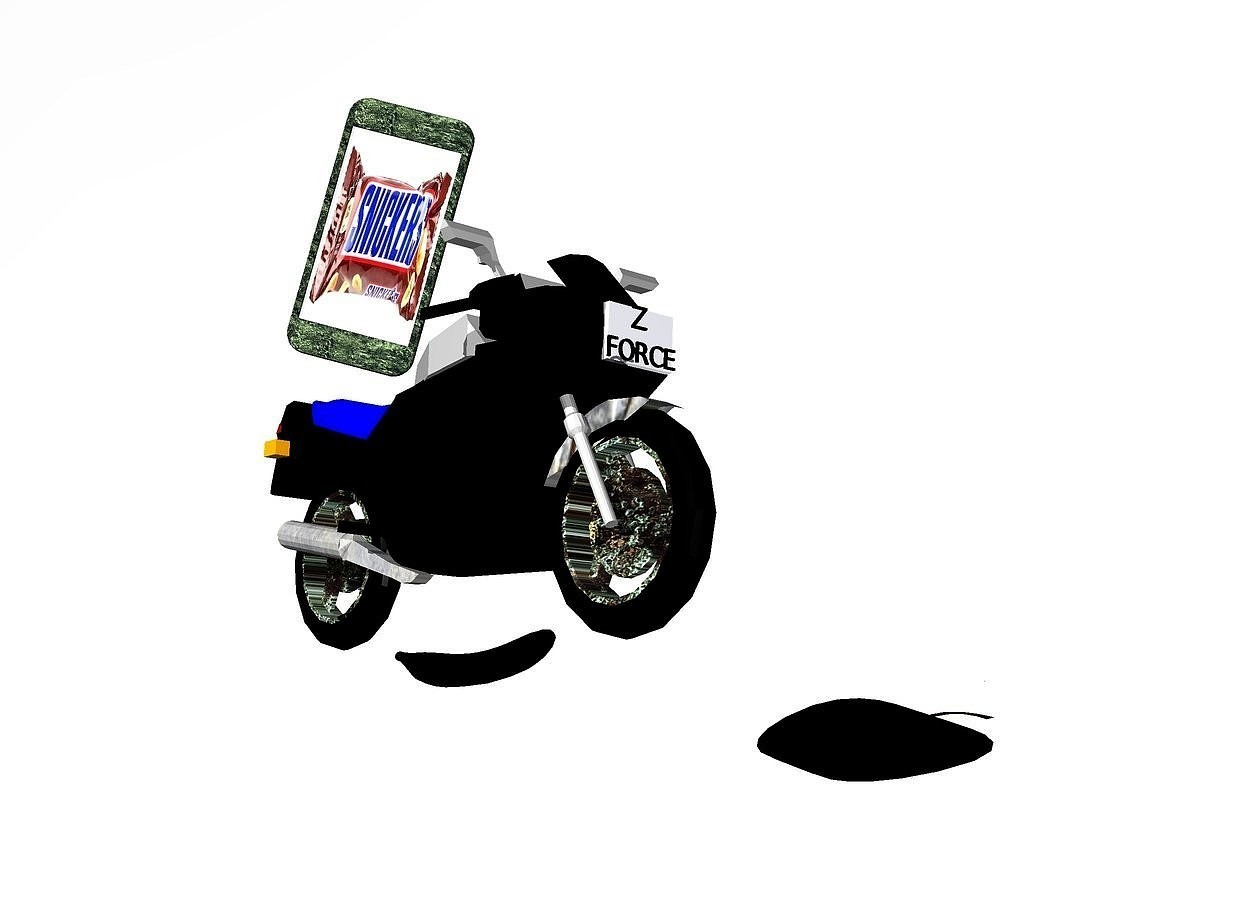 "Input text: black motorcycle leans to the northwest. it is .5 feet above the ground. a giant [metal] cell phone is on the motorcycle. it leans to the northwest. it faces southwest.the display screen of the cell phone is [candy]. the body of the cell phone is red. the sky is white.the ground is invisible. a large black banana is -1.3 feet behind and -.9 feet right of the motorcycle. it faces right. it is on the ground.  a giant flat black apple is -.9 feet right of and -.9 feet in front of the motorcycle. it faces left. it leans 90 degrees to the front.it is 1 feet above the ground. a 1.9 inch tall black ""FORCE"" is -1.1 feet in front of and -1.6 feet above the motorcycle. it leans to the northwest. a 2 inch tall black ""Z"" is -.04 inch above the ""FORCE"". it leans to the northwest. the wheel rim of the motorcycle is metal. the muffler of the motorcycle is metal. the fender of the motorcycle  is metal. the headlight of the motorcycle is shiny."