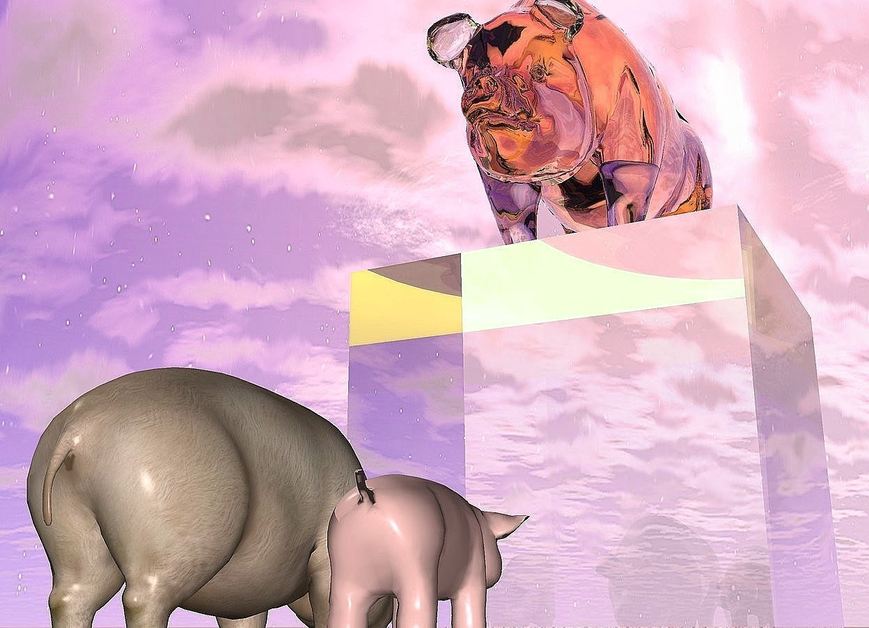 Input text: the pink glass pig is on the big glass cube. the ground is pink and shiny. the 2nd small pig is 15 inches in front of the cube. it is facing to the cube. the 3rd small pink pig is to the right of the 2nd small pig. it is facing to the cube. the yellow light is on the glass pig