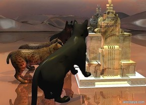 a 10 foot tall  building. it is shiny [art]. ground is shiny [landscape].   a 1st 5 foot tall cat is -2 feet to the left of and in front of the building. the cat faces the building. the cat leans back. 20 foot tall and 40 foot wide silver wall is behind the building. the wall is 1 inch in the ground. it is noon. camera light is black. a peach light is behind the cat. a gold light is 10 feet above and 5 feet in front of the building. a 2nd 5 foot tall cat is 1.5 foot to the left of the building. it faces right.