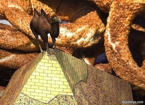 a 100 inch tall   [Bagel] cube.a 40 inch tall  pyramid is in front of the cube.the pyramid is -40 inch above the cube.a 10 inch tall camel is -2 inch above the pyramid.the camel leans 20 degrees to back.the camel is facing southeast.a gray light is above the camel.the altitude of the sun is 70 degrees.sun is 30% dim tan.
