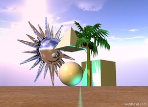 The ground is sand. There is a palm tree. There is a marble in front of the palm tree. A 15 foot tall white sphere is 3 inches to the left of the marble and 1 foot behind the marble. A 15 foot tall pyramid is 8 feet above the white sphere. A 16 foot tall white cube is to the right of the palm tree. The sun is pink. The camera light is gold. A cyan light is in front of the sphere. A 50 foot tall silver symbol is 5 feet behind the sphere.