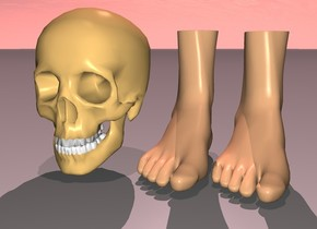 the skull is away from the feet. the feet are rotated down. sun is pink. 1st dim pink light is 20 feet above skull. sun's azimuth is 350 degrees