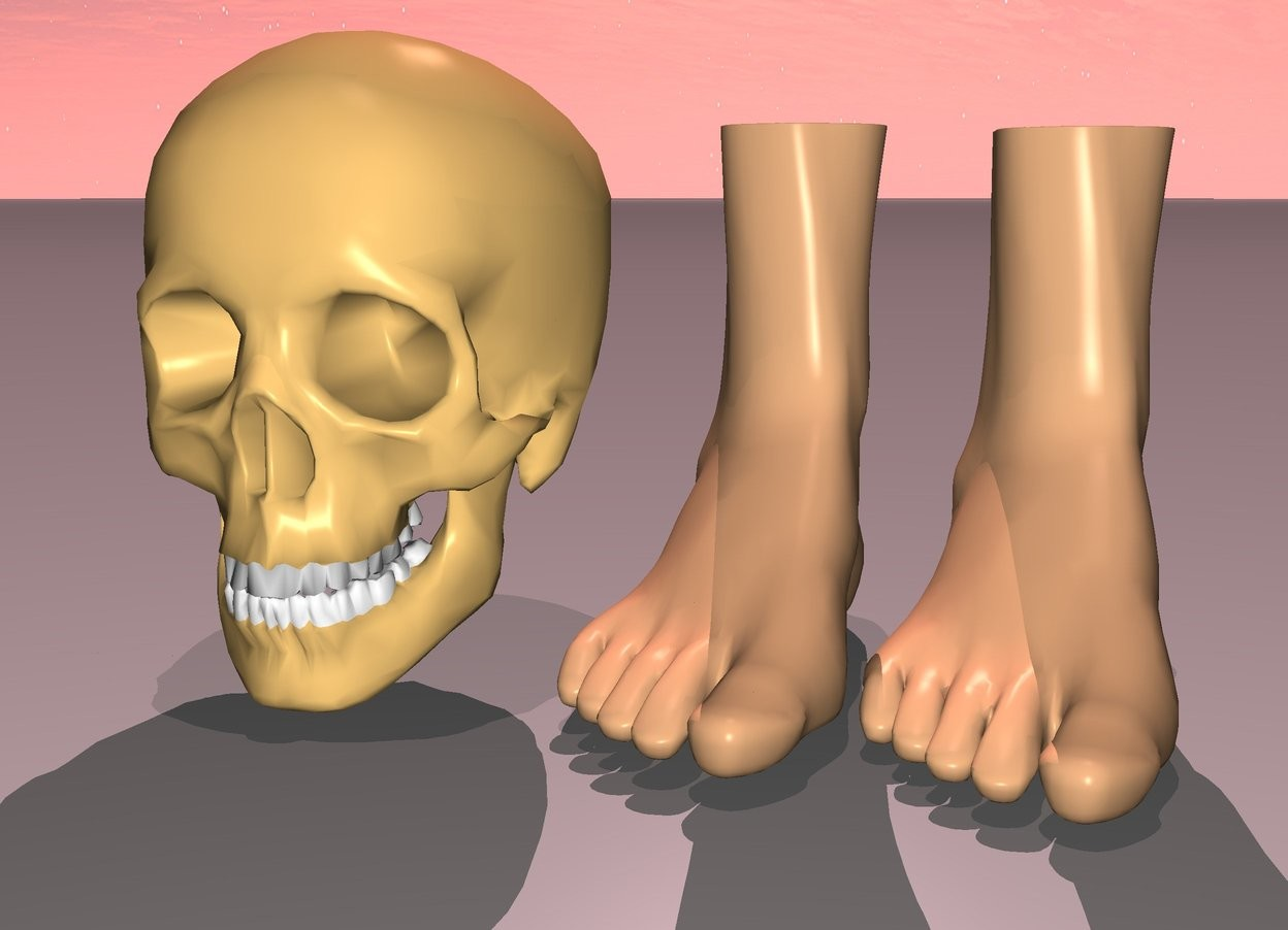 Input text: the skull is away from the feet. the feet are rotated down. sun is pink. 1st dim pink light is 20 feet above skull. sun's azimuth is 350 degrees