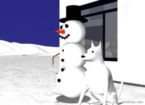 ground is white. a snowman.sky is midnight blue. it is noon. a ghost white light is 10 feet in front of the snowman. a white dog is -.8 foot to the right of the snowman. a shiny house is 5 feet behind the snowman. the house is white. a santa claus is 10 feet in front of and -1 feet to the left of the house. the santa claus faces back.