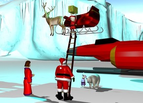 a ladder.a man is -14 inches in front of the ladder.the man is facing the ladder.a sleigh is above the ladder.the sleigh is facing left.the sleigh is behind the ladder.a elf is above the ladder.the elf is facing the sleigh.the elf is -36 inches in front of the ladder.a box is above the elf.the box is -12 inches right of the elf.the sleigh is [christmas].a deer is -16 inches left of the sleigh.the deer is facing left.the ground is snow.a cyan light is 1 feet above the sleigh.a polar bear is 5 feet behind the ladder.a 2nd elf is 6 inches left of the polar bear.a woman is 3 feet left of the man.the woman is facing the bear.the woman's bathrobe is red.a spaceship is 10 feet behind the bear.