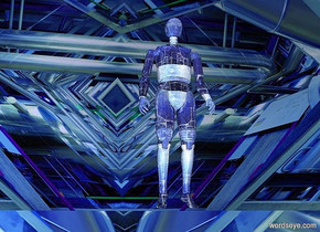 a 50 feet tall octahedron.the octahedron is [techno].the [techno]is 15 feet tall.a shiny man is -35 feet above the octahedron.the man is [technology].the [technology] is 6 inches tall.a delft blue light is 6 feet above the man.