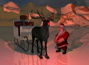 A reindeer is -1 foot left of Santa. The ground is [snow]. A 4 inch wide shiny red sphere is 1.9 foot in front of and -2.35 foot above and -2.75 foot left of the reindeer. Camera light is black. A scarlet light is in front of the sphere. The sun is black. Santa is facing the reindeer. A 6 feet high shiny sleigh is behind the reindeer. A very large present is on the sleigh. A large present is on the present. A dim marmalade light is right of Santa. A dim maroon light is left of Santa.