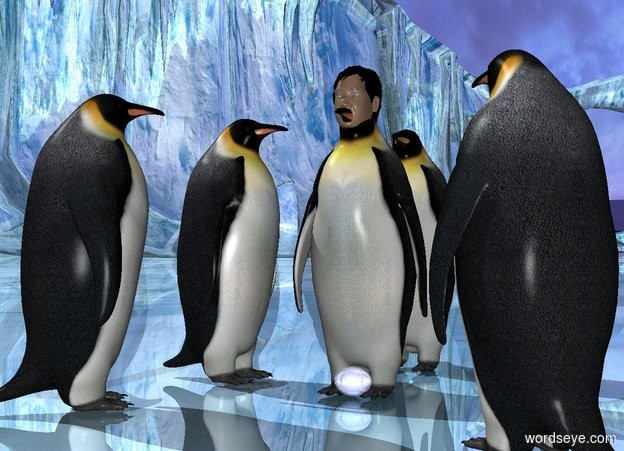 Input text: a 1st penguin.a head is -5.5 inches above the 1st penguin.the head is -14 inches in front of the 1st penguin.a 2nd penguin is 6 inches left of the 1st penguin.the 2nd penguin is in front of the 1st penguin.the 2nd penguin is facing northeast.a 3rd penguin is 3 inches left of the 1st penguin.the 3rd penguin is facing right.shiny ground.a 4th penguin is 2 inches behind the 1st penguin.a 5th penguin is 3 inches right of the 1st penguin.the 5th penguin is facing northwest.the 5th penguin is in front of the 1st penguin.a 0.4 feet tall shiny egg is -10 inches in front of the 1st penguin.the egg is pale blue.