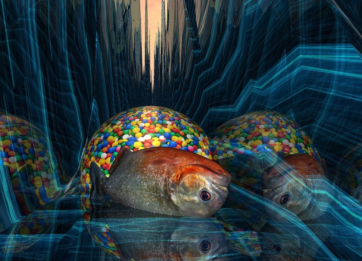Input text: ground is 40 feet wide.ground is 60 inch wide shiny [abstract].a 95 inch tall shiny [plastic] sphere is -40 inch above the ground.a 45 inch tall piranha is -70 inch above the sphere.the piranha is facing southeast.the piranha is in front of the sphere.the piranha is upside down.
