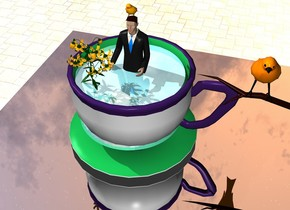 the giant cup of 1 foot wide 0.5 foot tall water is on the table. the 1 foot tall man is -6 inches above the water. the water is shiny. the ground is silver tile. the small bird is -6 inches in front of and -1 inch above the man. the 2nd bird is 5 inches to the right of the man -1 inch above the cup. the flower is -1.4 inch in front of and -2 inches to the left of the man. the flower is -2 inches above the water. the table is silver