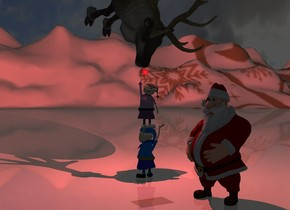 A reindeer is -1 foot left of Santa. It is 7.4 feet above the ground. It is leaning 90 degrees to the front. The ground is [snow]. A 6 inch wide shiny red sphere is 7 inches above the Santa. It is 3.9 feet behind the Santa. Camera light is black. A scarlet light is in front of the sphere. The sun is black. Santa is facing the reindeer. The elf is 3 feet behind the Santa. He is facing back. Another elf is -3 inches above the elf.