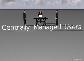 "Man is 3 foot to the right of the table. Man is facing table. 2nd Man is 3 foot to the left of the table.  Guy is facing table. businessman is 3 feet behind table. businessman is facing table.  The large computer is on top of  table. ""Centrally Managed Users"" 9 feet in front of table."