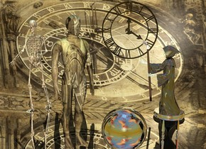 a flat wall.the wall is [astrology].it is noon.a man is 4 feet in front of the wall.the man is [clock].the [clock] is 1.5 feet tall.silver ground.the wall is 1 inches in the ground.the man is facing southeast.a 2 feet tall silver hourglass is 2.5 feet right of the man.a 3 feet tall shiny grim reaper is -1 inches above the hourglass.the grim reaper is facing the man.a skeleton is 2.5 feet left of the man.the skeleton is in front of the wall.the grim reaper is -24 inches right of the hourglass.a clear 3.5 feet tall clock is 3.5 feet right of the skeleton.the clock is 3.5 feet above the ground.the clock is -1 inches behind the skeleton.a 2 feet tall silver sphere is 3 inches right of the man.the sky is cloud.the sun is sky blue.
