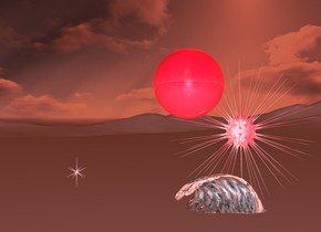 1st invisible marble on ground. 1st shiny crimson sphere 2 feet above 1st marble. it is night. ambient light is peach. 1st tiny wave is -2.3 feet southwest of 1st sphere. it is .6 feet above ground. camera light is 20% blue. 1st shiny pink symbol is 8 feet north of 1st marble. 1st pink light in 1st symbol