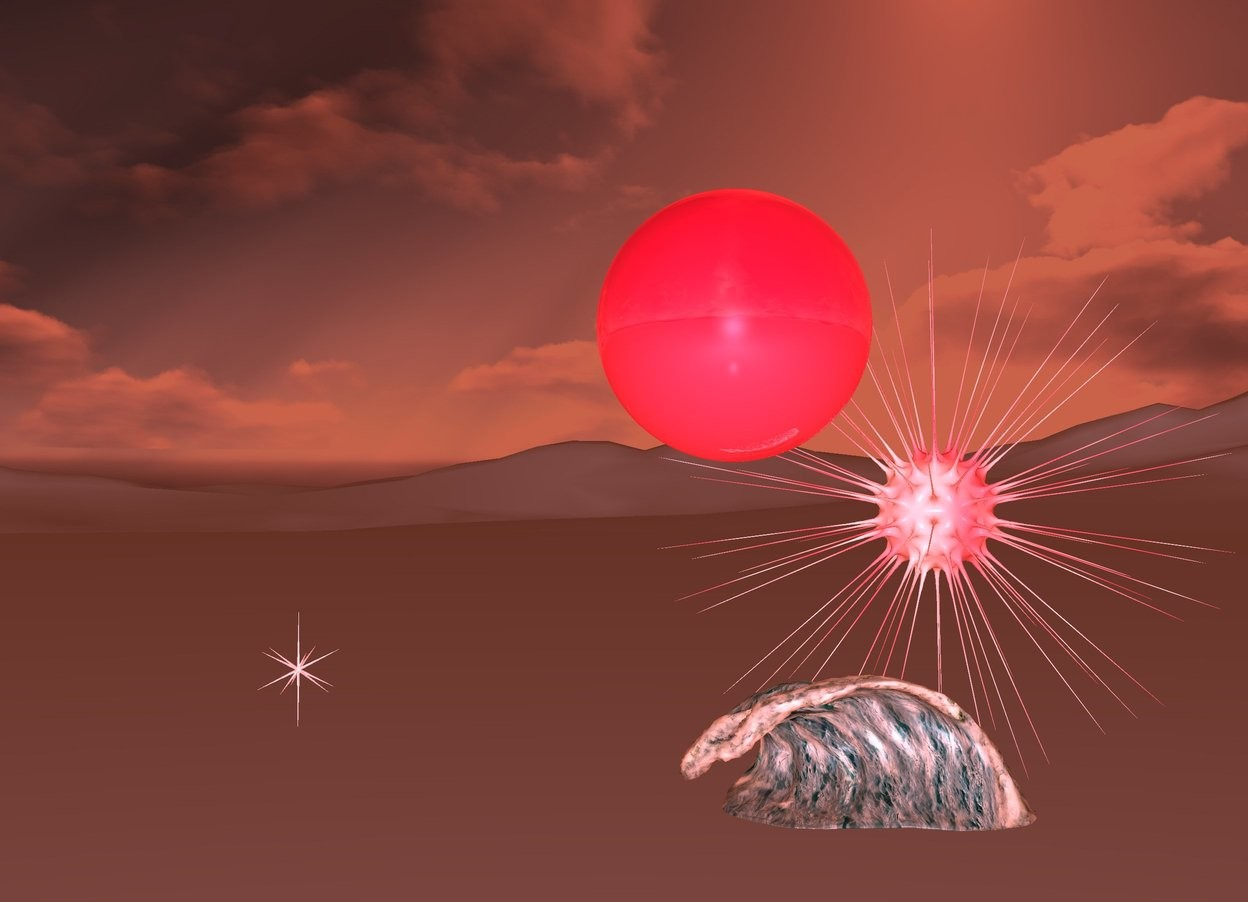 Input text: 1st invisible marble on ground. 1st shiny crimson sphere 2 feet above 1st marble. it is night. ambient light is peach. 1st tiny wave is -2.3 feet southwest of 1st sphere. it is .6 feet above ground. camera light is 20% blue. 1st shiny pink symbol is 8 feet north of 1st marble. 1st pink light in 1st symbol