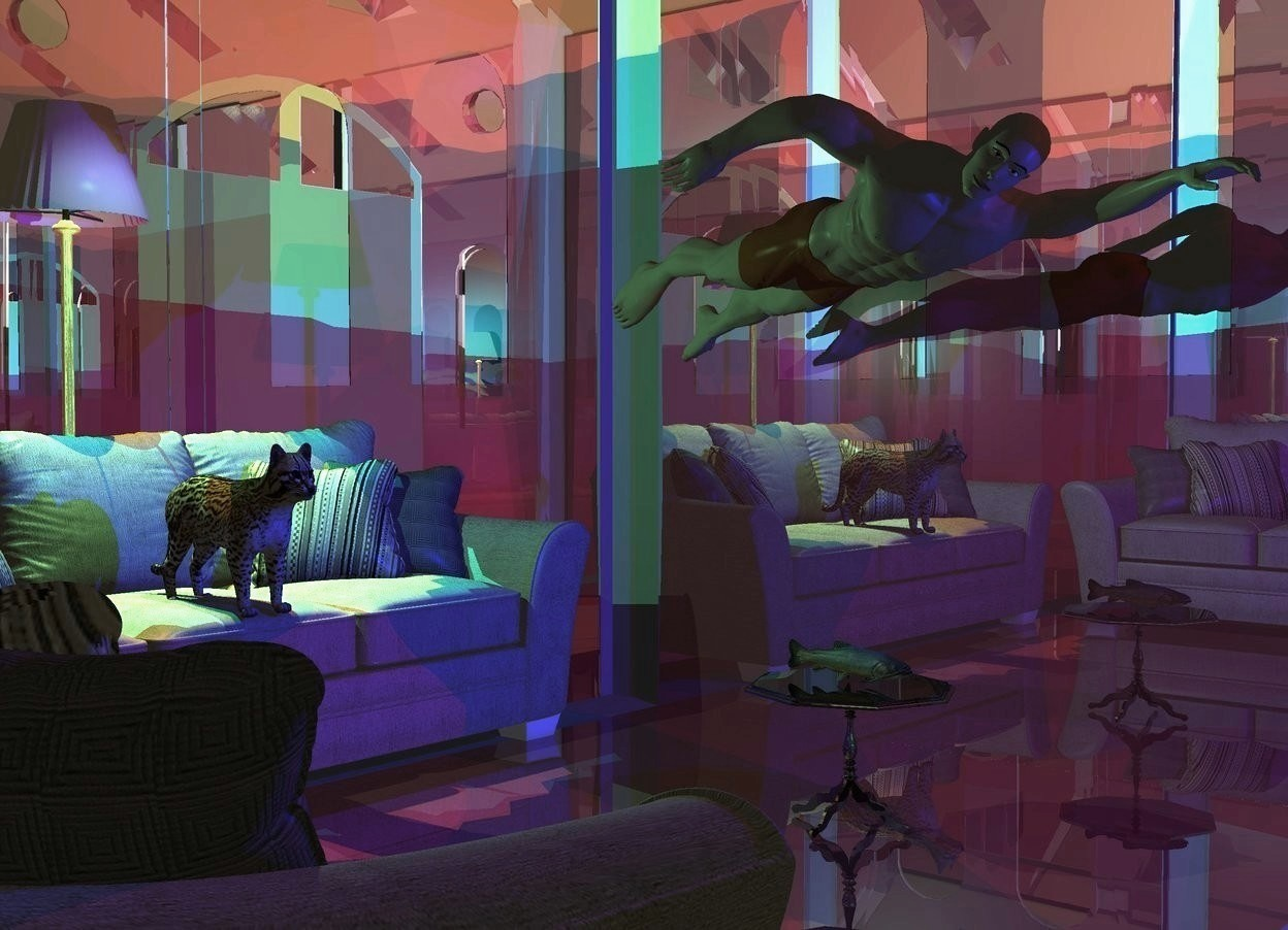 Input text: A building is shiny brown. A man is -35 feet above the building. He is leaning 5 degrees to the back. Camera light is black. A sea green light is behind the man. A blue light is in front of the man. A sofa is behind the man. It is on the ground. 2 purple lights are behind the sofa. A shiny lemon lamp is -1.6 foot left of and -5 inch in front of the lights. It is 4 inch above the ground. A small cat is -1.4 feet above and -1.5 feet in front of the sofa. A sofa is left of and in front of the sofa. It is facing east. A small shiny black table is 5 feet right of the sofa. A fish is on the table. An orange light is -7 inch above the lamp. The window of the building is silver. A dim red light is -1 foot in front of and -8 inch above the man. A cyan light is -6 inch above and -4 inch left of the lamp. A ball is 10 feet in front of the sofa. The man is facing the ball.