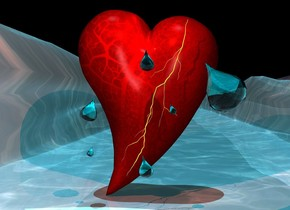 a large heart. 1st giant clear cyan drop is -3 feet above and -2.6 feet right of and .01 feet in front of the heart.it leans left. 2nd enormous clear cyan drop is .4 feet above the 1st drop. it leans left. 3rd very giant clear cyan drop is .74 feet right of and .37 feet above and .1 feet in front of the 2nd drop. it leans 5 degrees to the  right. a  sky blue light is behind the 3rd drop. 4th huge clear cyan drop is -1.2 feet above and .2 feet right of the 3rd drop. it leans right. 5th very giant clear cyan drop is .2 feet left of and -1.4 feet above the 4th drop. it leans northeast. the water ground is 140 feet wide and 30 feet tall. the sky is invisible. the sun's azimuth is 200 degrees.the sun's altitude is 80 degrees. 6th very enormous clear cyan drop is -.7 feet right of and -2.3 feet above and .2 feet in front of the heart. it leans 40 degrees to the northeast. a 3.1 feet tall 9 inch wide lightning bolt is -3.5 feet above and .01 feet in front of and -2.1 feet right of the heart. it leans 24 degrees to the left. the camera light is lagoon turquoise. the sun is iceland blue. a 30 % sunset orange light is 1 feet in front of and -.3 feet above  the heart.