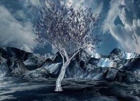 sky is 2100 feet tall.sky leans 45 degrees to south.ground is 600 inch wide [cloud].sky is [cloud].ground is 60 feet tall.a 210 inch tall shiny delft blue tree is 200 inch above the ground.the tree trunk of the tree is shiny delft blue.