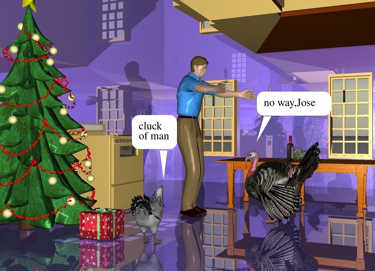 Input text: a shiny mauve house.a man is -20 feet left of the house.a turkey is in front of the man.the turkey is facing the man.a cooker is 2 feet behind the man.a chicken is 2 feet left of the man.the chicken is facing the man.a tree is 1 feet left of the cooker.a table is right of the turkey.the table is facing left.a box is in front of the tree.the table is facing north.a cabbage is on the table.a bottle is 10 inches left of the cabbage.