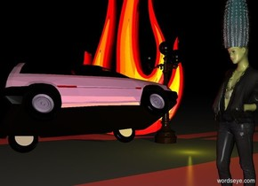 There is a yellow woman. a cyan plant is 6 inches in the woman. a   light post is 10 feet to the left and 5 feet behind the woman. a pink car is in front of the light post. the car is facing the light post. the car leans 30 degrees to the left. a 20 foot tall reflective fire is to the left of the light post. the fire is facing the car. it is night. a red light is above the car. a yellow light is in front of the light post. a purple light is in front  of the woman. a yellow light is to the right of the car. the sun is blue.
