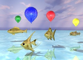 the shiny ocean. the 1st big golden fish is -2 inches above the ocean. the 1st shiny balloon is -1 foot above the 1st fish. the 2nd very big gold fish is 2 feet behind and 1 foot to the left of the 1st fish. it is 5 inches above the ocean. the 3rd big golden fish is 7 feet to the left of the 2nd fish. the 2nd shiny red balloon is -1 foot  above the 2nd fish. the 3rd shiny green balloon is -1 foot above the 3rd fish. the 4th big gold fish is 3 feet behind the 2nd fish. the 4th shiny yellow balloon is -1 foot above the 4th fish