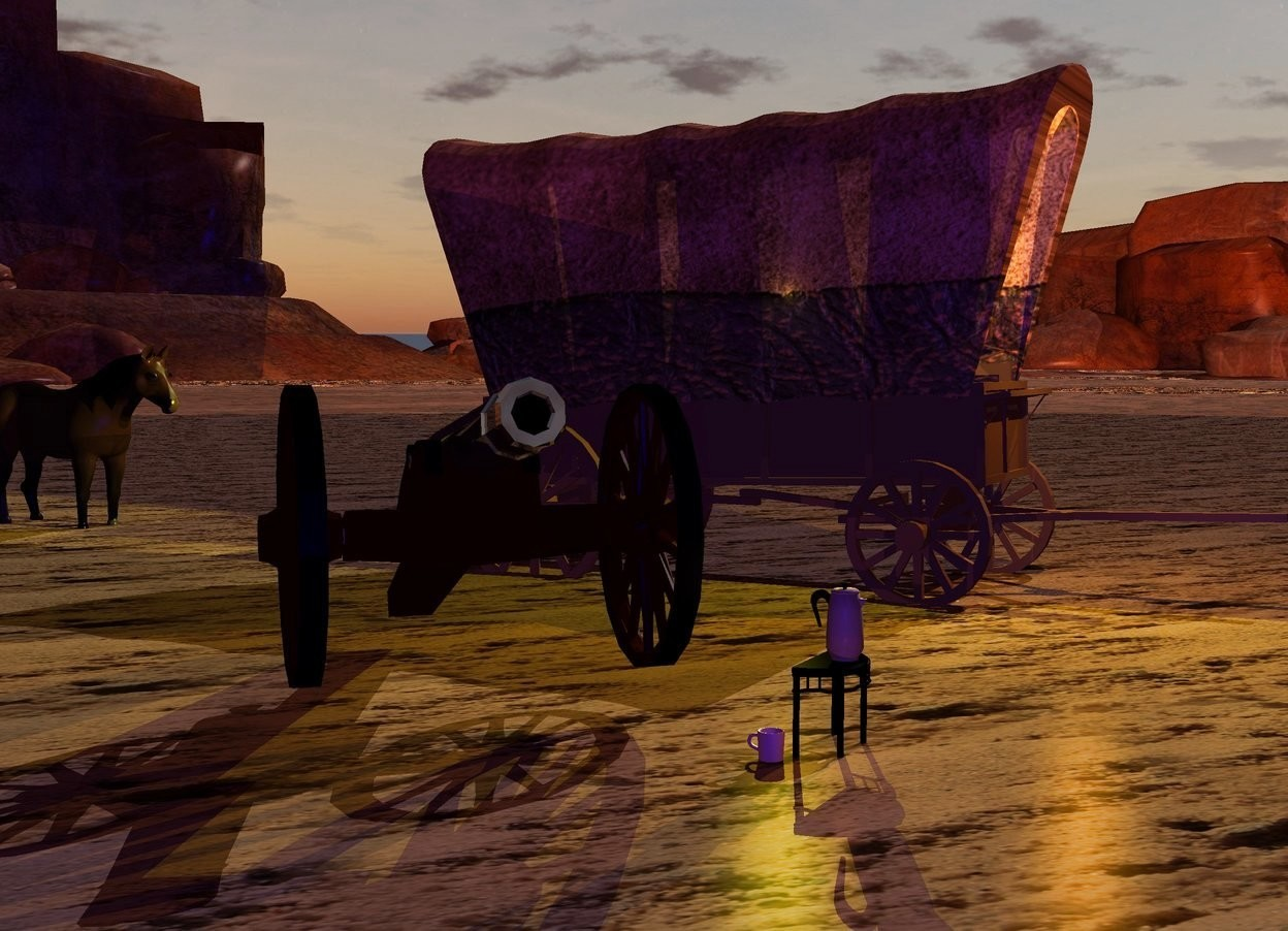 Input text: A shiny cannon is 3 feet left of a [material] covered wagon. It is facing southwest. It is on a 50% dark [sand] lake. The covered wagon is leaning 2 degrees to the back. Ambient light is brown. 2 yellow lights are -3 feet above the covered wagon. Camera light is navy. The azimuth of the sun is 100 degrees. A lemon light is -2 feet above and -6 feet in front of the covered wagon. A small dark horse is 5 feet behind the covered wagon. A large orange light is -3 feet in front of and -4 feet above the covered wagon. A tiny black table is in front of the cannon. It is 3 inch above the ground. A small coffee pot is on the table. A small beige cup is left of and behind the table. A dim peach light is -1 inch in front of the cup