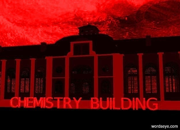 """Input text: a huge malachite green building. a huge shiny """"CHEMISTRY BUILDING"""" is in front of the building. sky is 6000 foot wide [storm]. ground is matte black. sun is maroon. camera light is black. ambient light is red."""