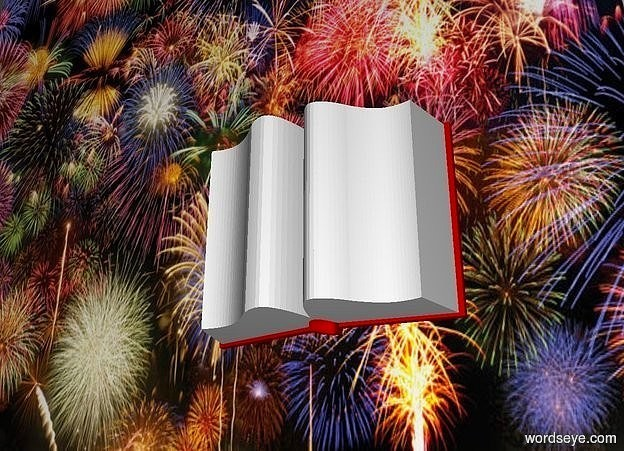 Input text:  a 130 inch tall and 170 inch wide and 70 inch deep   book.sky is black.ground is clear.a 850 inch wide and 640 inch tall flat wall is behind the book.the wall is 610 inch tall [FW].the book is -500 inch above the wall.the book is -550 inch right of the wall.