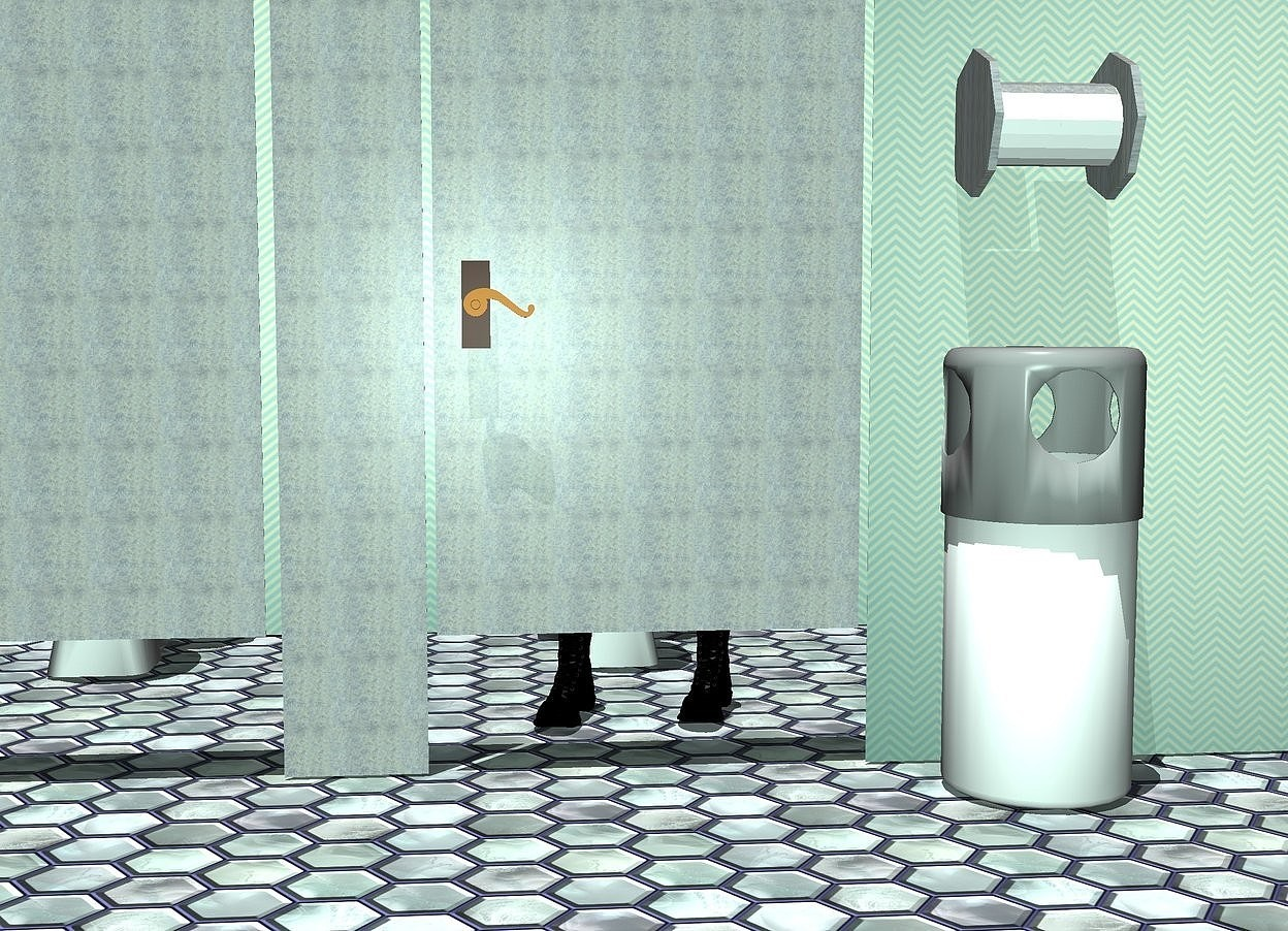 Input text: a 3 feet long and 5 feet tall 1st  flat [metal] wall is 1 feet above the ground.the ground is tile. a 1 feet long and 6 feet tall [metal] 2nd flat wall is .7 inch left of and -6 feet above the 1st wall. a 7 feet long and 6 feet tall 3rd flat [texture] wall is .7 inch right of and -6 feet above the 1st wall. a 5 feet tall and 3 feet long 4th flat [metal] wall is 14 inches left of the 1st wall. the sky is alice blue. 1st bowl is 3 feet behind the 1st wall. it is on the ground. 1st boot is 1 feet in front of and -.6 feet left of the bowl. 2nd boot is .6 feet right of the 1st boot. 2nd bowl is 3 feet left of the 1st bowl.a  large handle is -3 feet above and -.7 feet left of and .1 inch in front of the 1st wall. a 5th [texture] wall is behind the 1st bowl. a trashcan is -1.7 feet left of and in front of the 3rd wall. 1st [metal] paper towel roll is 1 feet above and -1.1 feet right of and -.9 feet behind the trash can. it leans 90 degrees to the right. the paper towel roll of the paper towel roll is white. 2nd [metal] paper towel roll is -1 feet left of the 1st paper towel roll. it leans 90 degrees to the left. the camera light is 30% aquamarine. the sun's azimuth is 220 degrees. the sun's altitude is 80 degrees.