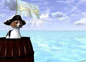 the ground is water. the 25 inches tall barrel is -4 inches above the ground. the  20 inches tall dog is -10 inches above and -15 inches to the left of the barrel. the 3 feet tall [dog] flag is -2 inches to the right of the dog. the water is shiny. the 6 inches tall hat is -3 inches above and -13 inches in front of the dog.