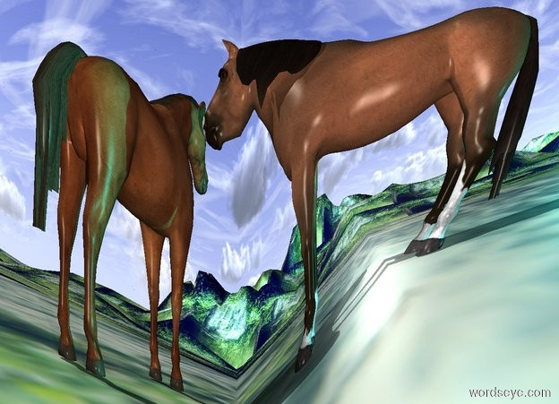 Input text: a silver organ.a 1st horse is 8 feet in front of the organ.the 1st horse is facing left.a 2nd horse is 8 inches left of the 1st horse.a aqua light is 42 inches right of the 1st horse.the ground is 60 feet tall.the ground is [forest].the [forest] is 30 feet tall.