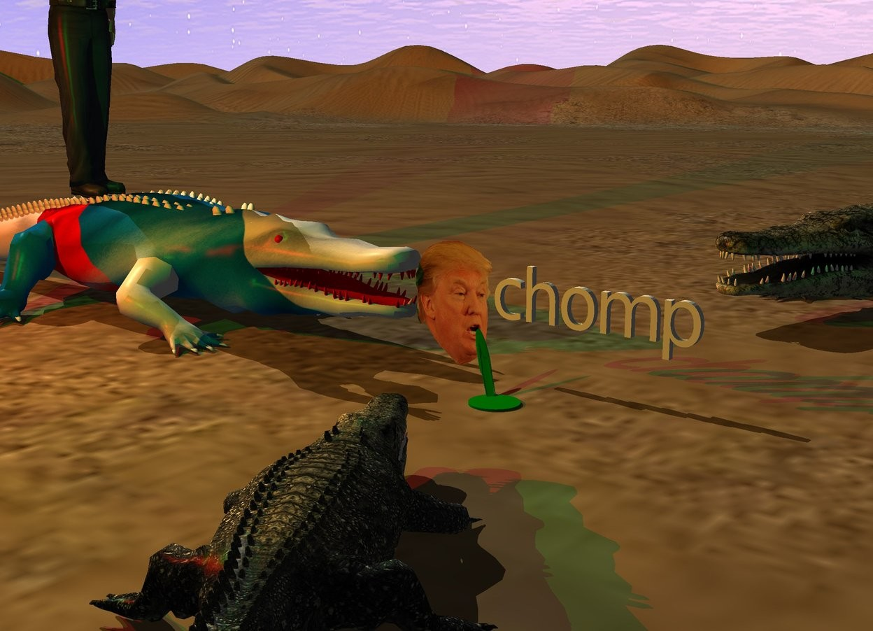 "Input text: The [russian] alligator is to the left of the head. it is facing the  head. the  small ""chomp"" is to the right of the head. it is 7 inches above the bottom of the head. the camera light is black. the red light is 3 feet above and 4 feet in front of the alligator. the green light is 3 feet to the right of the red light.  The green head of hair is 3 inches in front of the head. it is flat.it is 1 inches in the ground.  it is 18 inches tall. it is 2 inches wide. it is leaning 60 degrees to the back. it is -1 inches to the right of the head. it is facing southeast. the green pond is in the head of hair. it is 8 inches wide. it is 2 inches in the ground. the man is -2 inches above the alligator. he is facing right. a first crocodile is behind and to the right of the alligator. it is facing the head.  the 2nd small crocodile is 3 foot in front and to the right of the head. it is facing the head."