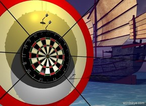 A dartboard is 1.1 inch in front of and -6 feet above a shiny navy wall. A 20 feet long black rectangle is 0.85 inch behind and -14 inch above the dartboard. It is leaning 180 degrees to the back. A 15 feet long black rectangle is 0.8 inch behind and -9 feet right of and -4 feet above the dartboard. It is leaning 45 degrees to the left. back. A 15 feet long black rectangle is 0.75 inch behind and -9 feet left of and -4 feet above the dartboard. It is leaning 45 degrees to the right. A 6 feet wide red circle is 0.95 inch behind and -4 feet above the dartboard. It is leaning 90 degrees to the back. A 5 feet wide white circle is 0.9 inch behind and -3.5 feet above the dartboard. It is leaning 90 degrees to the back. A 30% dark [wood] boat is 10 feet in front of and 12 feet right of the wall. The ground is water. A dart is right of the dartboard. It is leaning 65 degrees to the front. A dart is above the dartboard. It is leaning 70 degrees to the front. A dart is left of and above the dart. It is leaning 80 degrees to the front. Camera light is black. A lemon light is in front of the dart. A light is in front of and below the dartboard. The sail of the boat is [canvas].