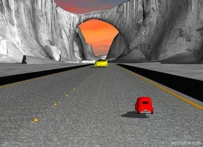 a 2000 inch long street.the road of the street is pavement.ground is 40% dim gray.sky is cloud.a 1st 20 inch tall  yellow car is on the street.a 2nd 5 inch tall red car is 550 inch in front of the 1st car.the 2nd car is -130 inch right of the street.the 2nd car is facing north.the 2nd car is -1 inch above the street.azimuth of the sun is 70 degrees.