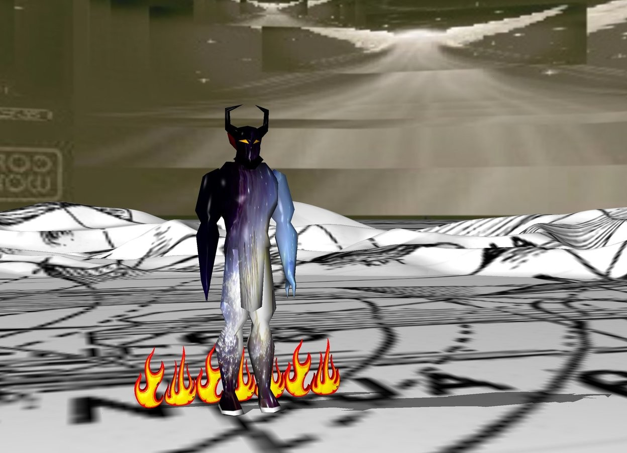 Input text: The sky is [angel4] .  The ground is [cobra2] .    The devil is facing forward.  The devil is 20 feet tall.  The devil is [mfire].  Seven huge flames are behind the devil.