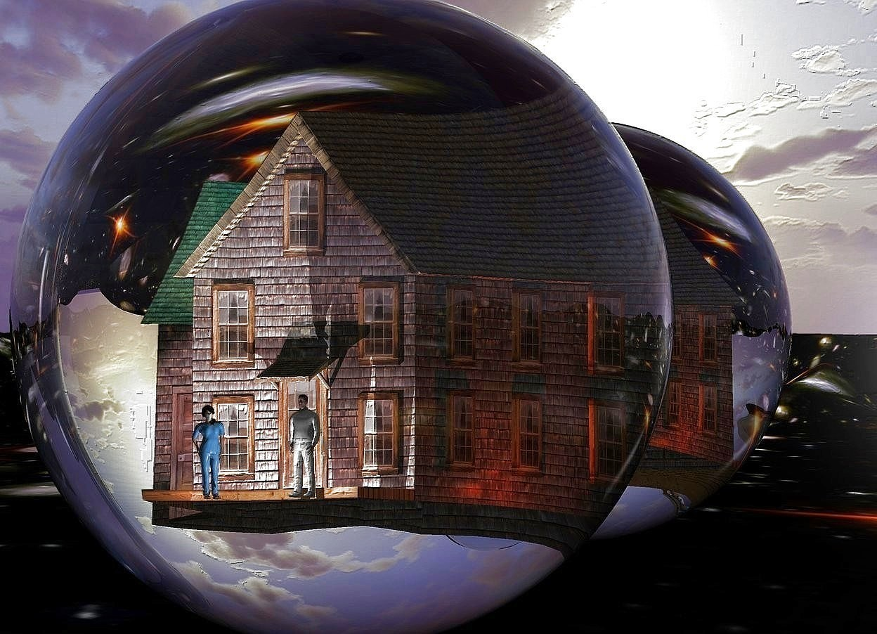Input text: a 25 feet tall ball.a small house is -18 feet above the ball.the ground is sky.a pink light is in front of the house.a small woman is in front of the house.a small white man is 2 feet right of the woman.the woman is facing southeast.a 60 feet tall silver wall is behind the ball.the wall is 200 feet long.a aqua light is above the house.a white light is in front of the man.a purple light is behind the house.a rust light is right of the house.