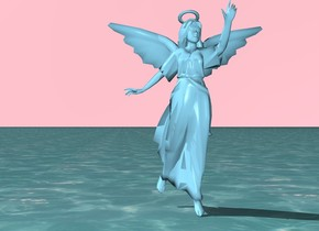 the angel is sky blue. the sky is pink. the ground is water.
