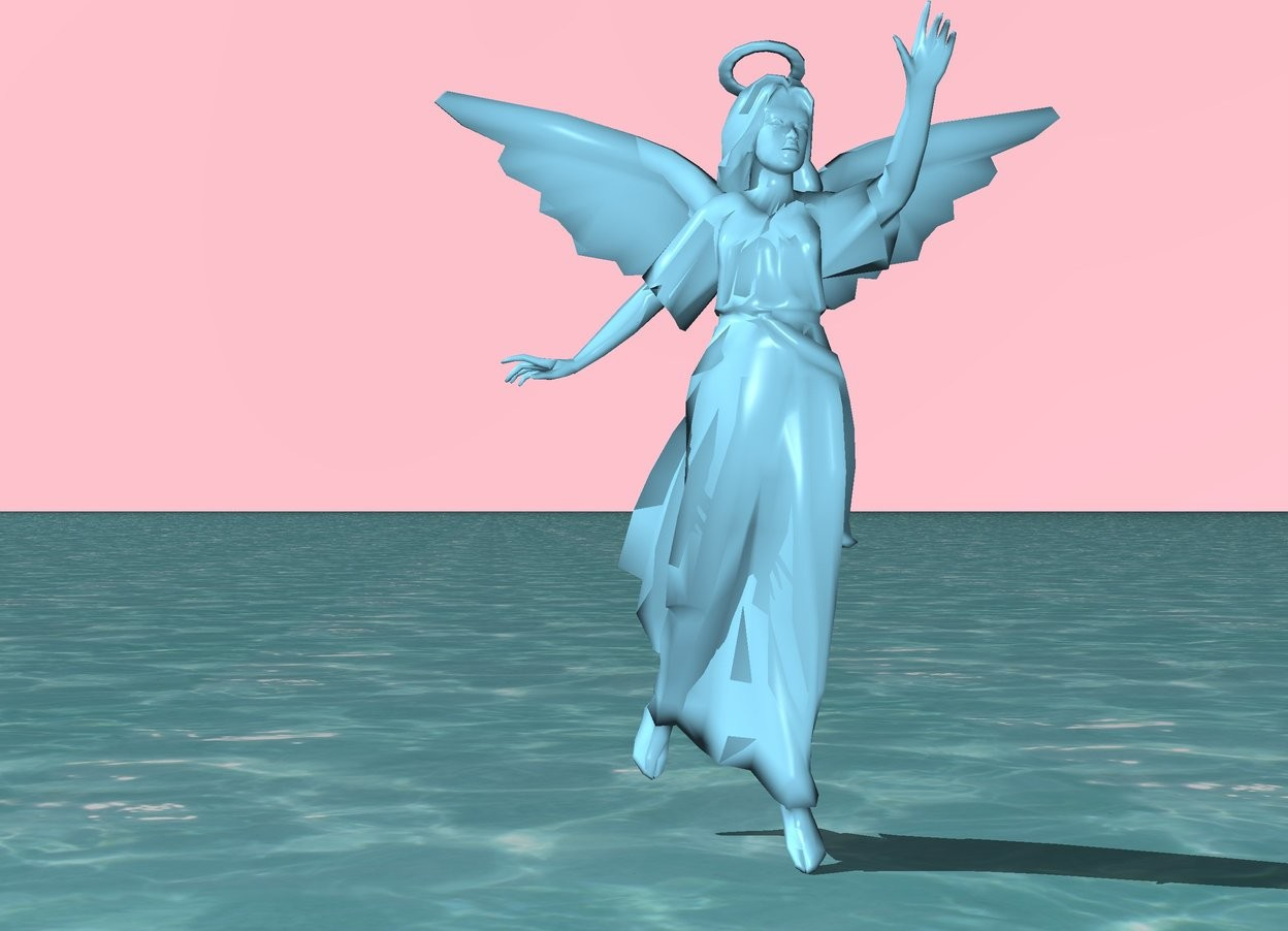 Input text: the angel is sky blue. the sky is pink. the ground is water.