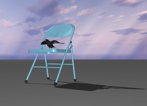 the crow is on the chair. the chair is sky blue. the ground is grey.