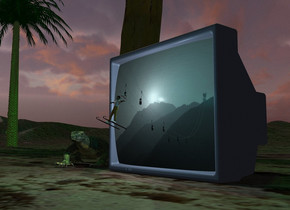 A 6 inch high man is 0.7 foot in front of and -1.55 feet above a pale sea blue television. The screen of the television is [cable car]. He is leaning back. A 0.2 inch wide and 6 inch long and 0.5 inch high ski is -7.2 inch above and -1.5 inch left of and -4 inch in front of the man. It is leaning back. A 0.2 inch wide and 6 inch long and 0.5 inch high ski is -7.2 inch above and -1.8 inch right of and -4 inch in front of the man. It is leaning back. Camera light is black. A light is behind the man. A dim cyan light is right of the man. The sun is lilac. The ground is 40% dark. It is 4 feet wide [sand]. A palm tree is 3 feet left of and behind the television. 4 dim green lights are in the tree. A small palm tree is 10 feet left of the tree. A lizard is left of the television. It is facing southeast.