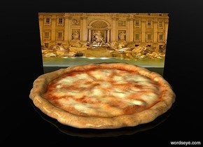 a 100 inch tall pizza.sky is black.ground is clear.a 1600 inch wide and 700 inch tall  flat  [UNESCO World Heritage Site] wall is behind the pizza.