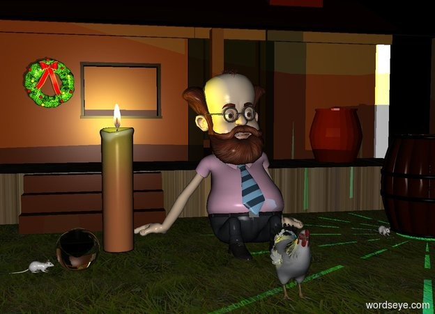 Input text: a giant candle.a yellow light is -10 inches above the candle.it is night.a small man is right of the candle.a small cabin is behind the man.a small bird is 1 feet in front of the man.the ground is grass.the grass is 2 feet tall.the cabin's porch is wood.a small barrel is 1 feet right of the man.a cyan light is -8 inches above the barrel.a crystal ball is left of the candle.the crystal ball is 6 inches in front of the candle.a small wreath is above the candle.the wreath is -36 inches in front of the cabin.the wreath is -32 inches left of the cabin.a 1st mouse is left of the barrel.a 2nd mouse is left of the crystal ball.the 2nd mouse is facing the crystal ball.