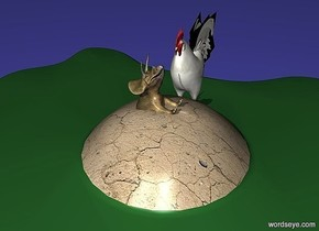 a 40 inch tall [dirt] navajo white egg.the white of the egg is malachite green.ground is [ikb191].a 70 inch tall chicken is -110 inch right of the egg.the  chicken is facing the egg.a 30 inch tall dinosaur is -41 inch above the egg.the dinosaur leans 90 degrees to back.