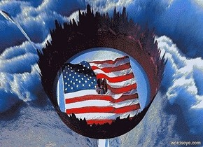 sky is [lake]. ground is [flag].ground is 150 feet tall and 150 feet wide and 150 feet deep.