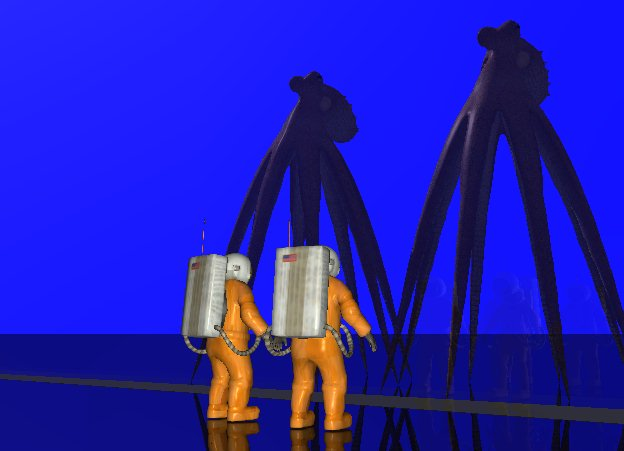 Input text: There is an enormous glass wall.  6 feet in front of the glass wall are two astronauts. The astronauts are [texture]. The astronauts face the glass wall. Behind the glass wall is a first enormous octopus. Next to the first octopus is a second enormous octopus. The ground is black and shiny. The sky is blue.