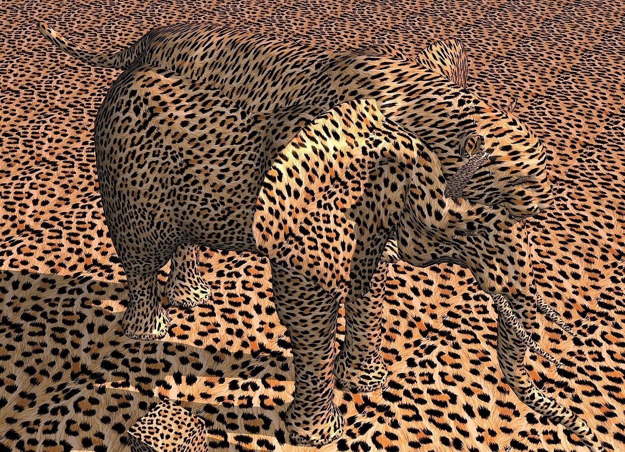 Input text: a [skin] elephant. a large [skin] tiger is -4.8 feet above and -14.2 feet to the front of the elephant. it leans 5 degrees to the back. the ground is 3 feet tall [skin]. the sky is [skin]. the camera light is 20% rust. the sun is 90% coral. the altitude of the sun is 38 degrees. the azimuth of the sun is 150 degrees