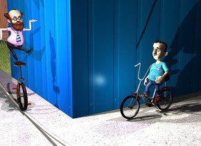 a 1st 10 foot tall [wall] cube. the ground is pavement. a 2 foot tall bicycle is 6 inches in front of and -4 foot to the left of the cube. it is facing left. a 2.3 foot tall boy is -1.5 foot above and -2.3 foot to the left of the bicycle. he is facing left. he is leaning 10 degrees to the back. a 2 foot tall unicycle is 1 foot to the left of and -8 feet in front of the cube. a 2 foot tall man is 0 inches above the unicycle. a 2nd 10 foot tall [wall] cube is -1 inch behind the 1st cube. a lavender light is in front of the man. a pale lemon light is to the left of the boy. the camera light is black. a linen light is 1 foot in front of and -6 inches above the man.