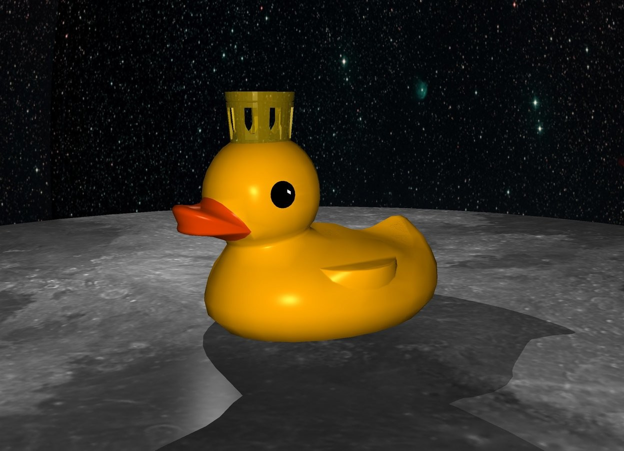 Input text: ground is [moon]. sky is [starfield]. 500 feet tall 500 feet wide 800 feet deep duck. 150 feet tall 150 feet wide 180 feet deep gold crown is -50 feet above the duck and -330 feet to the front.