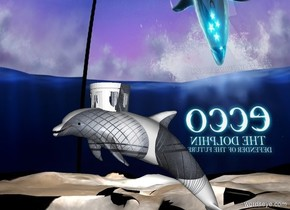 ground is [moon]. sky is [image-7911]. 500 feet tall 500 feet wide 800 feet deep crystal dolphin. 150 feet tall 150 feet wide 180 feet deep crystal crown is -50 feet above the dolphin and -330 feet to the front.